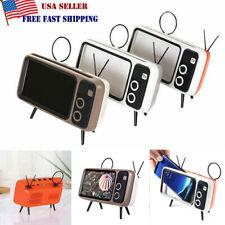 Portable Retro Mini Bluetooth Speaker TV Design Mobile Phone Holder FM Radio US