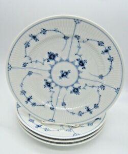 """4 ROYAL COPENHAGEN BLUE FLUTED PLAIN DINNER PLATE 10 1/4"""" 1/175 #4"""