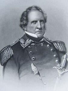 1863 ORIGINAL AMERICAN CIVIL WAR PRINT & BIOG LIEUTENANT-GENERAL WINFIELD SCOTT