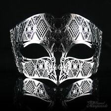 Mens Unisex Filigree Light Metal Mardi Gras Venetian Masquerade Mask [Silver]