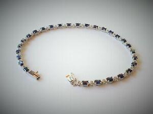 """Gorgeous 14K White Gold 8"""" Sapphire and Diamond Bracelet"""