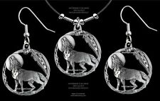 Gift To Howl About Free Ship #L Wolves Moon Shadow Wolf Necklace/Earrings Set A