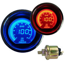 "CAR Vehicle 2"" 52mm LED OIL PRESSURE PRESS METER GAUGE BLUE&RED AU STOCK NEW"