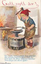 Sweden Jenny Nystrom signed New Year luck horseshoe blacksmith hammer kid 1913