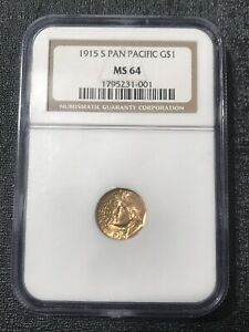 1915 S Panama Pacific Gold Dollar $1, NGC MS64, Great Luster!Old Slab, Fast Ship