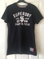 Mens Superdry Black Short Sleeve T-Shirt White Writing On Front Size M B13