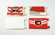 Lego 4x Banderas Piratas Caballero Casacas Rojas Bomberos en Blanco Rojo City