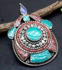 Tibetan Silver Turquoise & Coral Gemstone Handmade Jewelry Nepali Pendant S-2.10