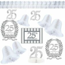 12 Piece Happy 25th SILVER WEDDING ANNIVERSARY Full Party Room Decorating Kit