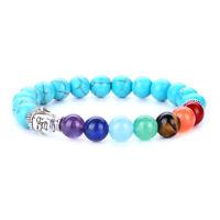 7 Chakra Natural Stone Beads Bracelet Elastic Buddha head Bracelet 246