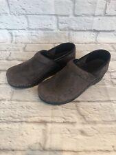 Sanita Womens Sz 38 / 7 Brown Suede Leather Nurse Shoes Original Danish Clog k1f