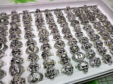 wholesale lots mixed 50pcs skull sports punk unisex vintage silver Gothic rings