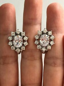 Stunning Round & Oval Clear CZ Halo Style Clip On 925 Silver Earrings