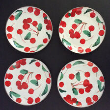 Pottery Barn Cherry Salad Plates ~ Enamel ~ Set of 4 ~ New with Tags