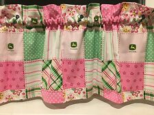NEW John Deere Tractor Pink & Green Patch Valance Curtain