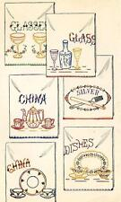 Glasses Dishes China for Dish Towels 1858 Iron on Embroidery Transfer