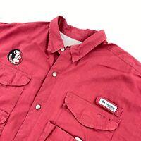 Columbia Men's Florida State Seminoles FSU Camp Fishing Shirt Burdundy Red • XL