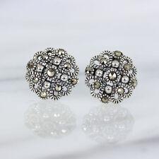 Genuine Sterling Silver 925 Marcasite Vintage Inspired 10mm Stud Earrings