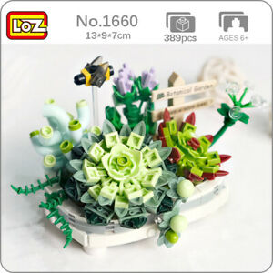 LOZ 1660 Eternal Flower Succulents Pot Plant Bee Animal Mini Blocks Building Toy