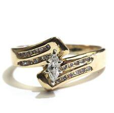 14k yellow gold .28ct VS1 G marquise diamond engagement ring 3.9g vintage estate