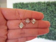 .06 CTW Dancing Diamond Clover Earrings&Necklace Set 18k Twotone Gold DDS05 sep