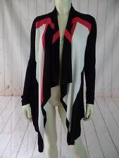 Inc Sweater S Pink White Black Fine Rayon Knit Open Front Hi Lo Hem Boho
