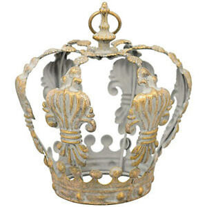 Vintage Dekokrone Ø 17 x 19 cm Gold Metall Krone Shabby chic Landhaus Windlicht