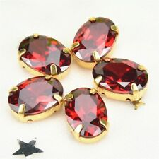 RUBY OVAL CRYSTAL GOLD BASE CLAW SEW ON EMBELLISHMENTS BUTTONS - FREE P&P