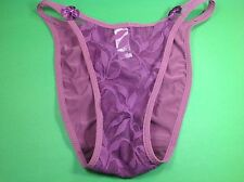Women Panties,Bikinis Size Small Violet Soft Silky W/Net&Decoration