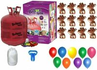 Helium Tank with 50 Balloons + Ribbon + 12 Orange Weights + 10 Clips +Tying Tool