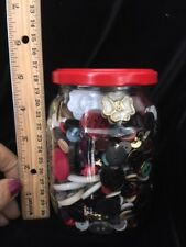 Lot Mixed Vintage Buttons. assorted Color Buttons.in clear jar