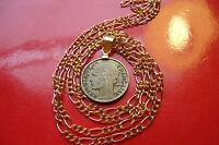 "1938 ""Art Nouveau"" French Bronze Cinquante Centimes on a 22"" Gold Filled Chain"