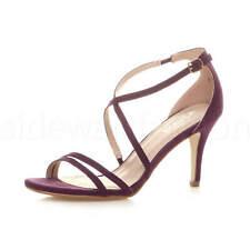 Mujer Damas Tacón Alto Medio cruzado correas zapatos Sandalias Noche Fiesta Nupcial