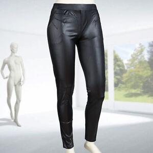 Glanzleggings Damen mit Taschen Gr. 36 38 40 Wetlook Stretch Röhrenhose Schwarz