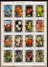 UMM EL KIWAIN  bloc de 16 timbres oblitérés :Fleurs de champs et jardins  AX-C10