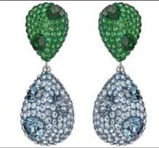 NIB$249 Atelier Swarovski Moselle Double Drop Pierced Earrings Green Blue5263621