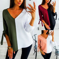 Autumn V-neck T-Shirt Casual Patchwork Ladies Knotted Loose Blouse Tops Pullover