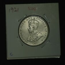 C: Straits Settlements 1921 50 Cents, Silver, King George V (AU-UNC)