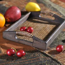 Wooden Serving Bed Tray Handles Breakfast Tea Tray Carry Serving with Handle L