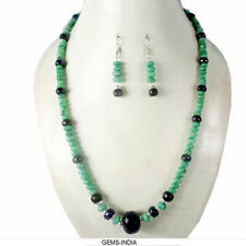 366+Ct Natural Emerald Sapphire Gemstone Beaded Necklace W Ear-rings Jewelry Set