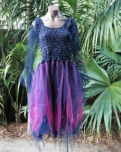 Women's Fairy Dress Costume with Sleeves & Wings - MIDNIGHT BLUE & FUCHSIA