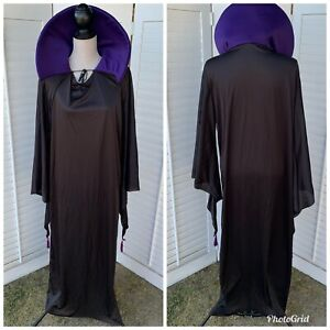 Black Wizard Coat with Purple Stand Up Collar Costume