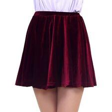 Women Gold Velvet Loose Mini Short Pleated Skirt Casual Skirt Kilt One Size