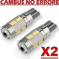 2 Lampade T10 LED HID Canbus 10 SMD 5630 BIANCO Lampadine Xenon 6000 K Posizione