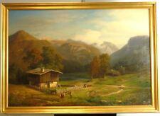 """Wilhelm Klein """"Große Alpenlandschaft mit Bauernhaus und Personenstaffage"""" Öl"""