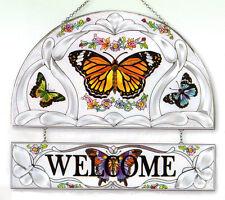 WHISPERING WINGS BUTTERFLIES MONARCH 12 WELCOME BUTTERFLY GLASS PANEL SUNCATCHER