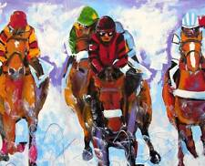 HORSE Race Original Art PAINTING DAN BYL Sports Modern Contemporary Large 4x5ft
