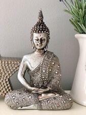 SMALL SITTING ANTIQUE SILVER THAI BUDDHA ORNAMENT FIGURINE STATUE SCULPTURE GIFT