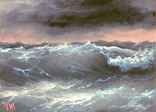 ORIGINAL ACEO OIL PAINTING SEASCAPE ART Atlantic Ocean Frost Morning Wave Storm