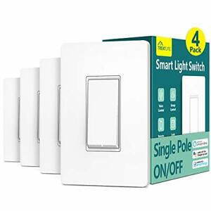 Smart Light Switch Single Pole Smart Switch Works with Alexa, SmartThings,4 Pack